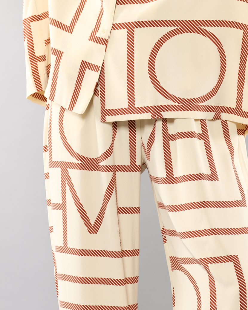 Monogram Printed Wide Silk Trousers