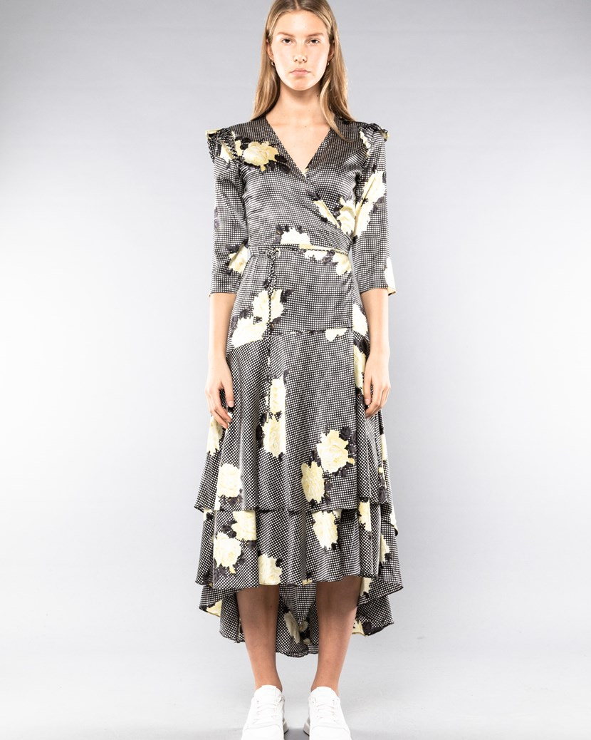 0d73cee8309216 Calla Silk Wrap Dress by Ganni